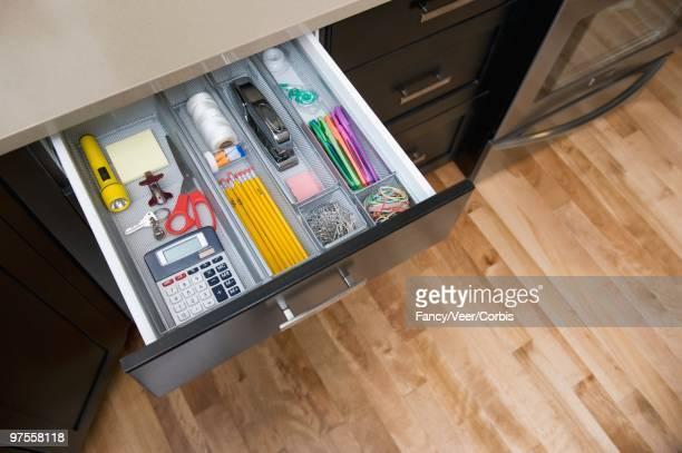 Organized Stationary Drawer in Kitchen