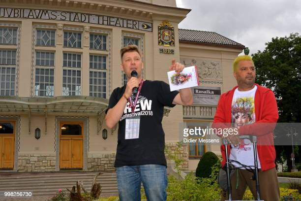 Organizer Alex Barendregt and Alex Hansen welcome the participants to the 21st World Bodypainting Festival 2018 on July 11 2018 in Klagenfurt Austria