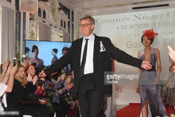 Organizer Philippe Noel walks the Runway during 'Fashion Night Couture' 8th Edition at Galerie de Miroirs on April 25 2018 in Paris France