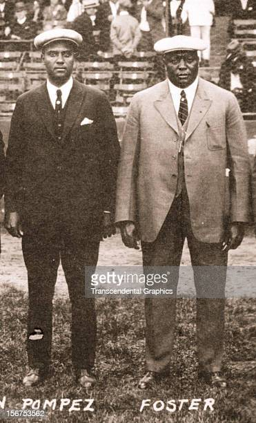 Organizers and executives for the East West Negro League All Star Game Alex Pompez left and Rube Foster pose during the event on September 10 1933 in...