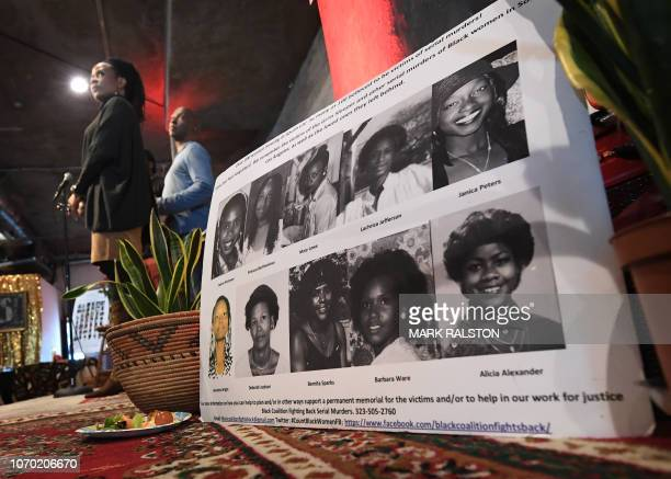 Organizers read out the names of serial killers victims of Lonnie Franklin known as the Grim Sleeper Samuel Little and other Los Angeles serial...