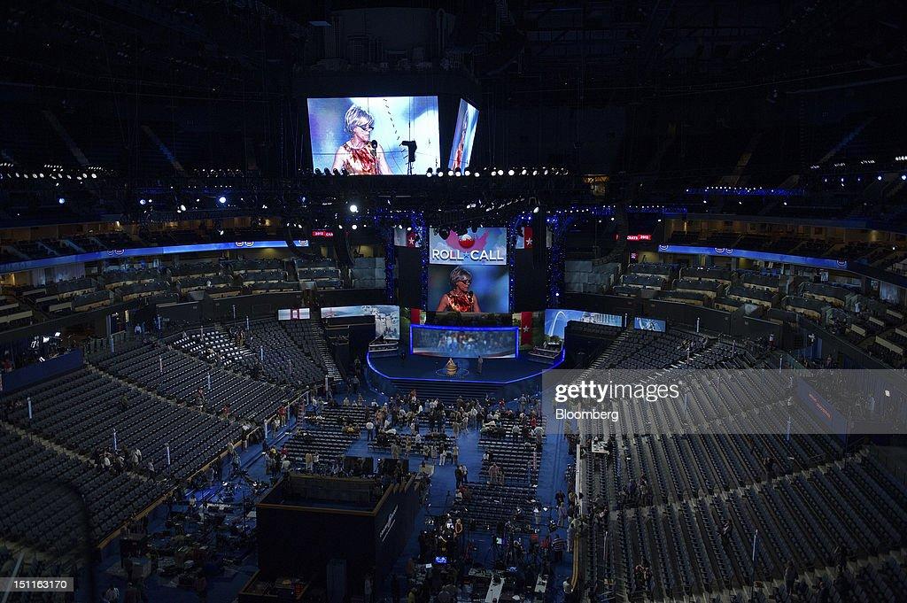 Democratic Convention Set Up : News Photo