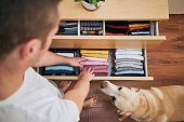organizing cleaning home man preparing orderly