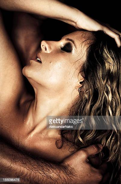 orgasm - couple tongue kissing stock photos and pictures