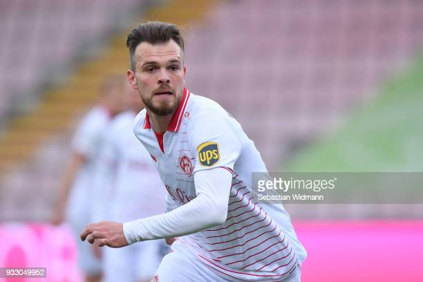 Orhan Ademi of Wuerzburg looks on during the 3. Liga match between SpVgg Unterhaching and FC Wuerzburger Kickers at Alpenbauer Sportpark on March 17,...