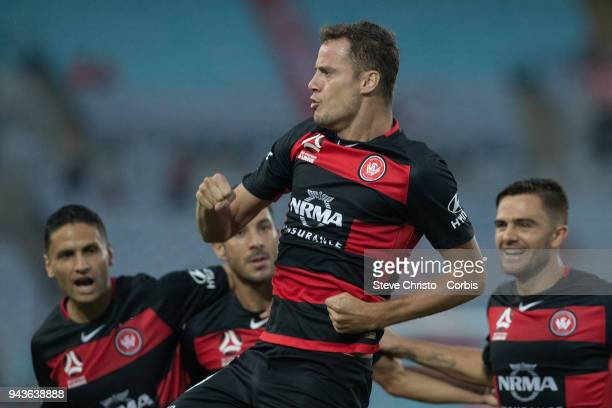 Orial Riera of the Wanderers celebrates scoring a goal during the round 26 ALeague match between the Western Sydney Wanderers and the Brisbane Roar...