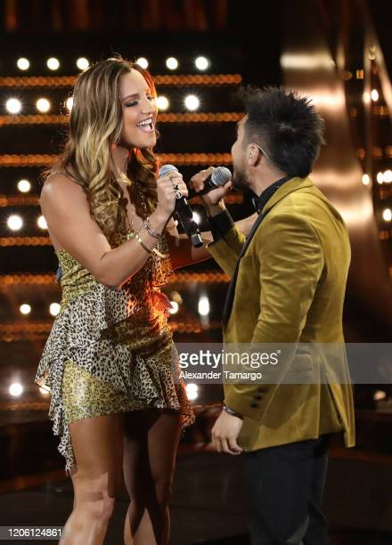 Oriana Lucas and Jimmy Rodriguez are seen on stage during Telemundo's La Voz Batallas Round 1 at Cisneros Studios on March 8 2020 in Miami Florida
