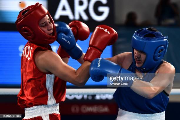 Oriana Saputo of Argentina fights with Emma Lawson of Australia Women's Light Bronze Medal Bout during day 12 of Buenos Aires 2018 Youth Olympic...