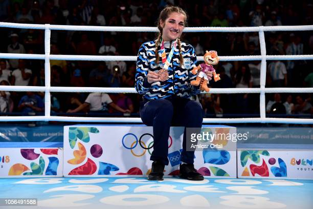 Oriana Saputo of Argentina smiles in the podium of Women's Light Bronze Medal Bout during day 12 of Buenos Aires 2018 Youth Olympic Games at Oceania...