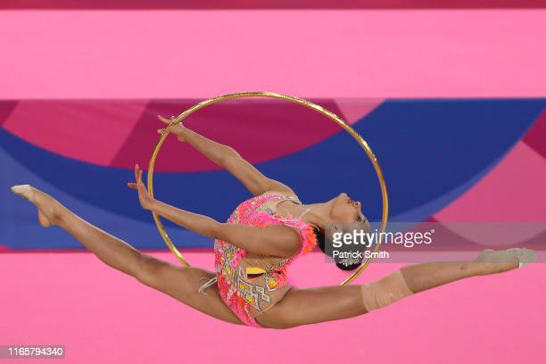 Oriana Vinas of Colombia competes during rhythmic gymnastics Individual All Around and Qualifications Hoop on Day 7 of Lima 2019 Pan American Games...