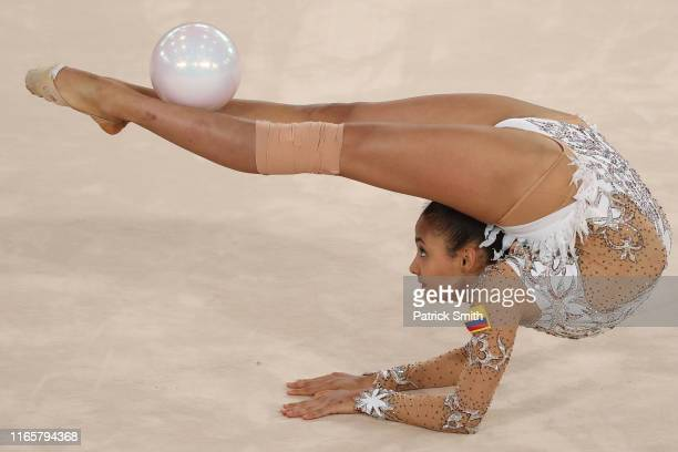 Oriana Vinas of Colombia competes during rhythmic gymnastics Individual All Around and Qualifications Ball on Day 7 of Lima 2019 Pan American Games...