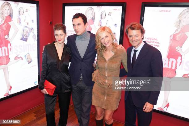 Oriane Deschamps Michele Laroque and Francois Baroin are seen during the 'Brillantissime' Photocall at Publicis Champs Elysees on January 15 2018 in...