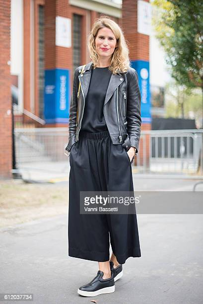 Oriane Kerezeon poses wearing Celine after the Celine show at the Tennis Club de Paris during Paris Fashion Week Womenswear SS17 on October 2 2016 in...