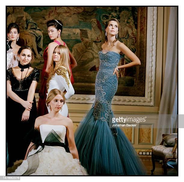 Oriane Piccard Remy Fisher Hikari Mari Lidia Buryak Princess Charlotte de Bourbon Parme Elizbeth Woodward are photographed at the Crillon Debutante...