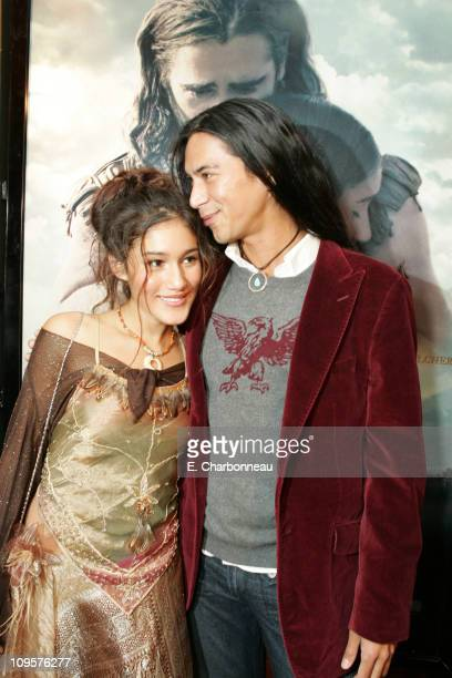 Q'Orianka Kilcher and Kalani Queypo during New Line Cinema Los Angeles Premiere of 'The New World' at Academy of Motion Pictures Arts and Sciences in...