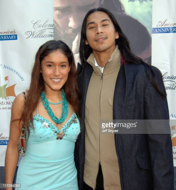 Q'orianka Kilcher and Kalani Queypo during The New World Williamsburg Premiere at Colonial Williamsburg's Kimball Theatre in Williamsburg Virginia...