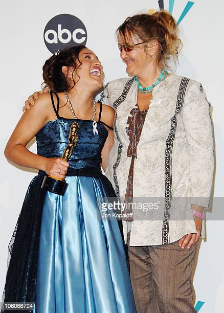 Q'Orianka Kilcher and mom during 2006 NCLR ALMA Awards Press Room at Shrine Auditorium in Los Angeles California United States
