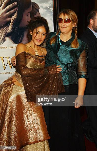 Q'Orianka Kilcher and mother Saskia during The New World Los Angeles Premiere to Benefit the American Film Institute at Academy of Motion Picture...
