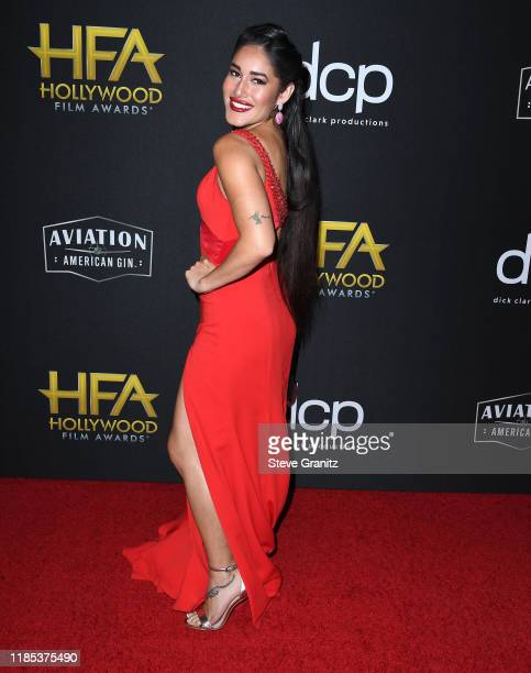 Q'orianka Kilcher arrives at the 23rd Annual Hollywood Film Awards at The Beverly Hilton Hotel on November 03 2019 in Beverly Hills California
