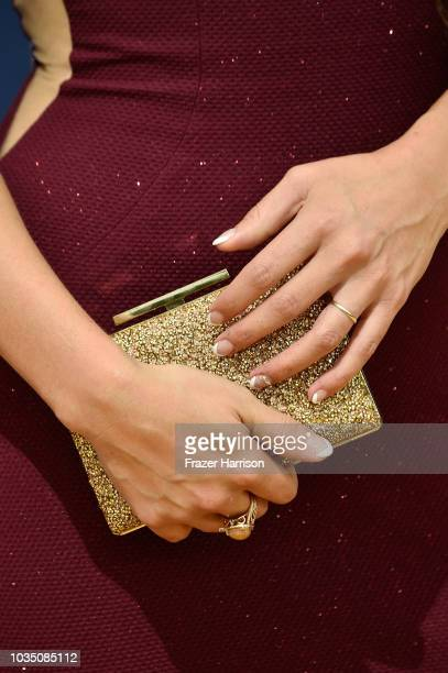 Q'orianka Kilcher bag detail attends the 70th Emmy Awards at Microsoft Theater on September 17 2018 in Los Angeles California