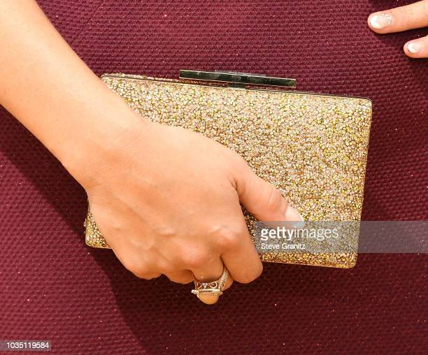 Q'orianka Kilcher clutch detail attends the 70th Emmy Awards at Microsoft Theater on September 17 2018 in Los Angeles California