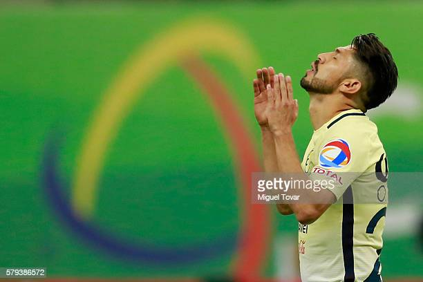 Oribe Peralta of America celebrates after scoring the first goal of his team during the 2nd round match between America and Toluca as part of the...