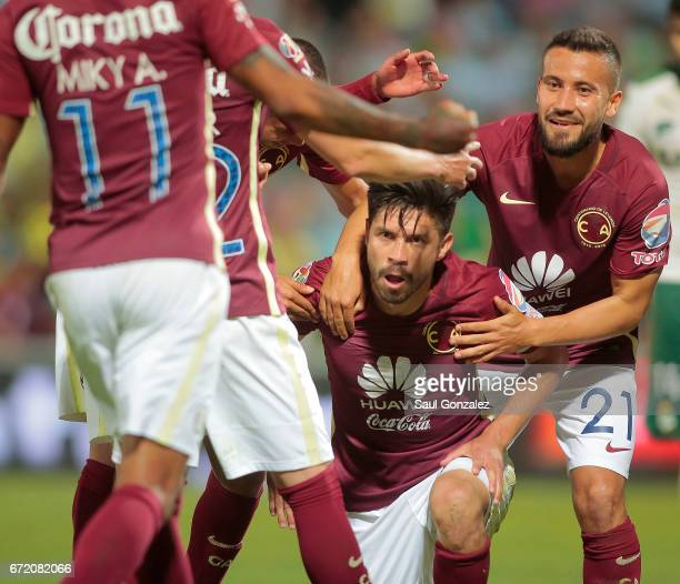 Oribe Peralta of America celebrates after scoring the first goal of his team during the match between Santos Laguna and America as part of the Torneo...