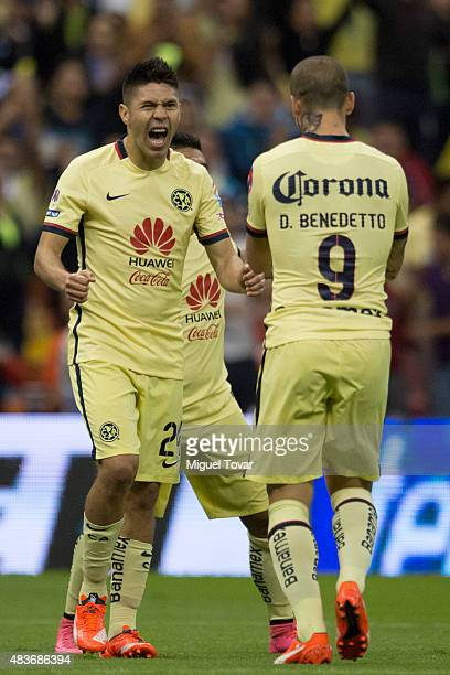Oribe Peralta of America celebrates after scoring the second goal of his team during a 4th round match between America and Dorados as part of the...