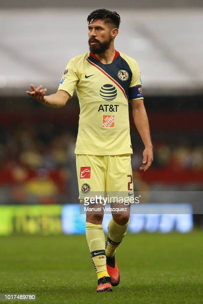 Oribe Peralta of America looks on during the fourth round match between Club America and Monterrey as part of the Torneo Apertura 2018 Liga MX at...