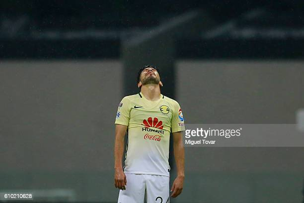 Oribe Peralta of America reacts during the 11th round match between America and Pumas UNAM as part of the Torneo Apertura 2016 Liga MX at Azteca...