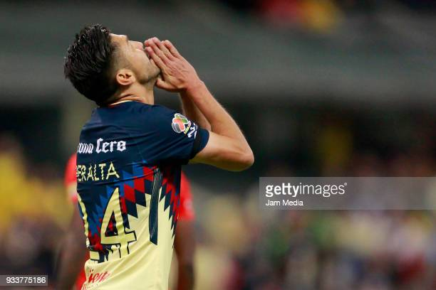 Oribe Peralta of America reacts during the 12th round match between America and Toluca as part of the Torneo Clausura 2018 Liga MX at Azteca Stadium...
