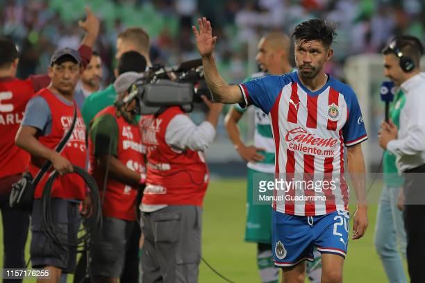 Oribe Peralta of Chivas gestures during the 1st round match between Santos Laguna and Chivas as part of the Torneo Apertura 2019 Liga MX at Corona...