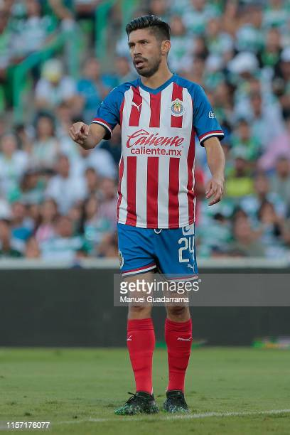 Oribe Peralta of Chivas reacts during the 1st round match between Santos Laguna and Chivas as part of the Torneo Apertura 2019 Liga MX at Corona...