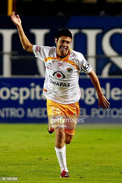 Oribe Peralta of Jaguares celebrates scored goal during their match in the 2009 Opening tournament the closing stage of the Mexican Football League...