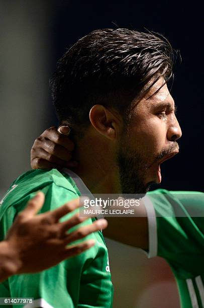 Oribe Peralta of Mexico celebrates his goal against Panama during the friendly football match between the Mexican national team and the Panama...