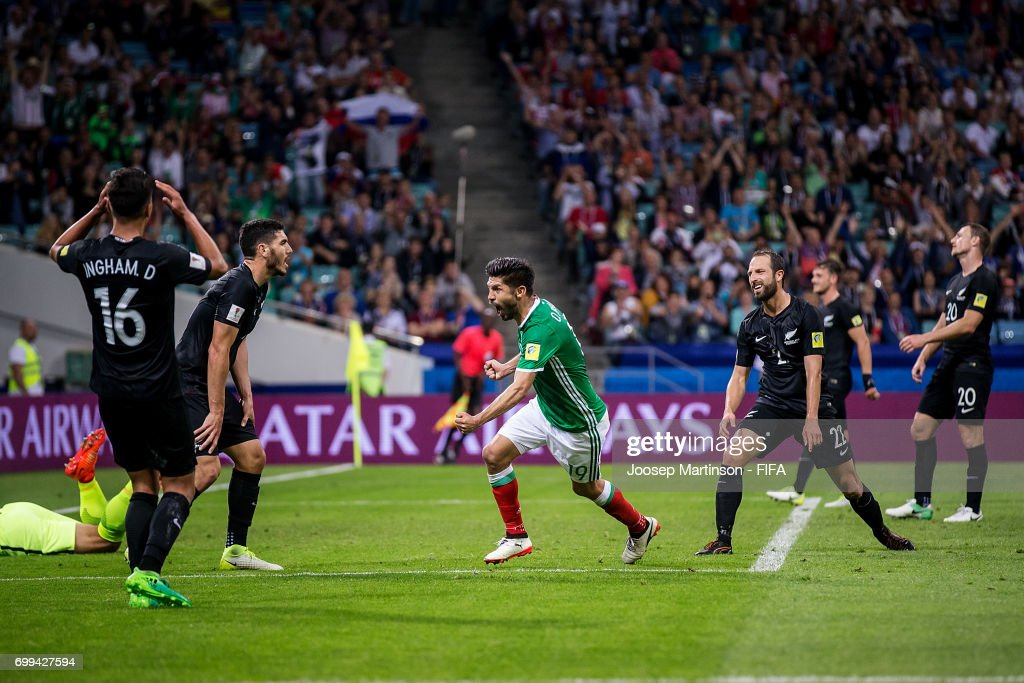 Oribe Peralta of Mexico celebrates his goal during the FIFA Confederations Cup Russia 2017 group A football match between Mexico and New Zealand at Fisht Olympic Stadium on June 21, 2017 in Sochi, Russia.