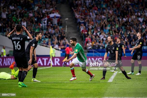 Oribe Peralta of Mexico celebrates his goal during the FIFA Confederations Cup Russia 2017 group A football match between Mexico and New Zealand at...