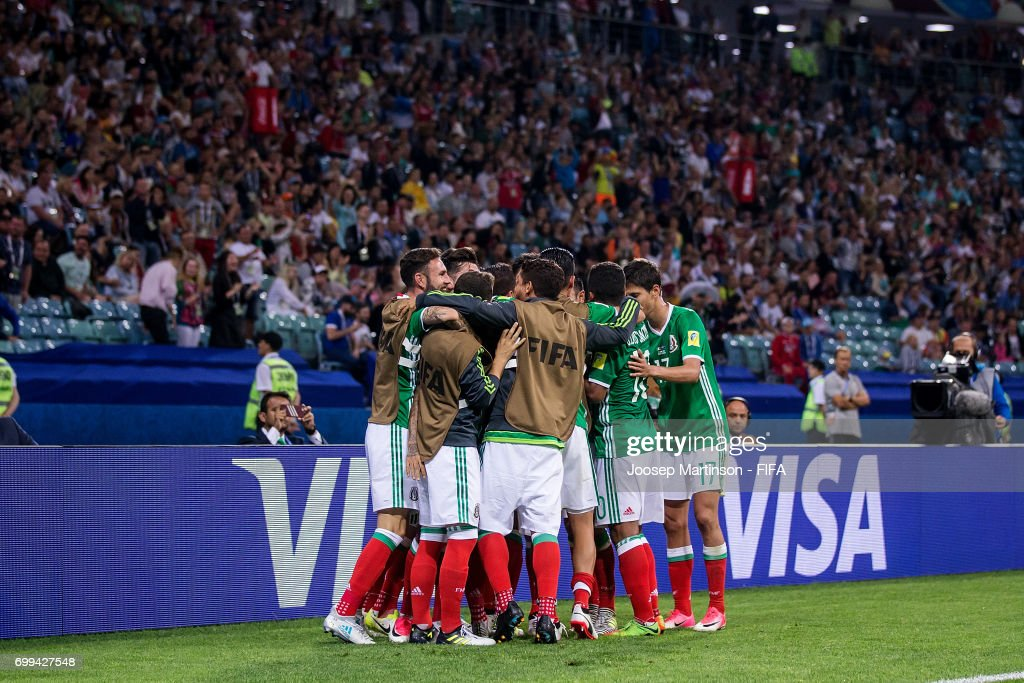 Oribe Peralta of Mexico celebrates his goal with team mates during the FIFA Confederations Cup Russia 2017 group A football match between Mexico and New Zealand at Fisht Olympic Stadium on June 21, 2017 in Sochi, Russia.