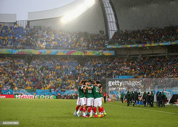Oribe Peralta of Mexico celebrates his goal with teammates in the second half during the 2014 FIFA World Cup Brazil Group A match between Mexico and...