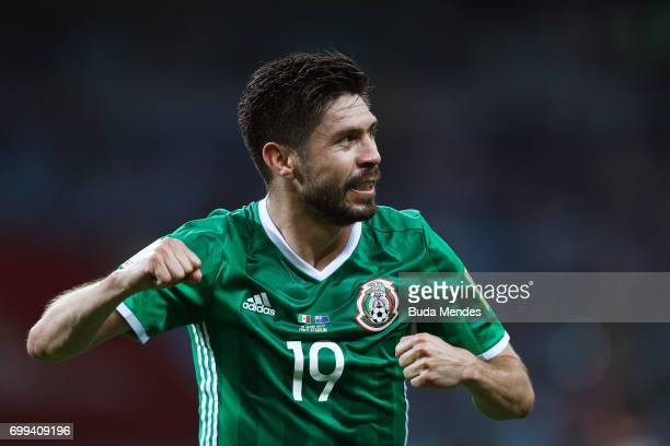 Oribe Peralta of Mexico celebrates scoring his sides second goal during the FIFA Confederations Cup Russia 2017 Group A match between Mexico and New...
