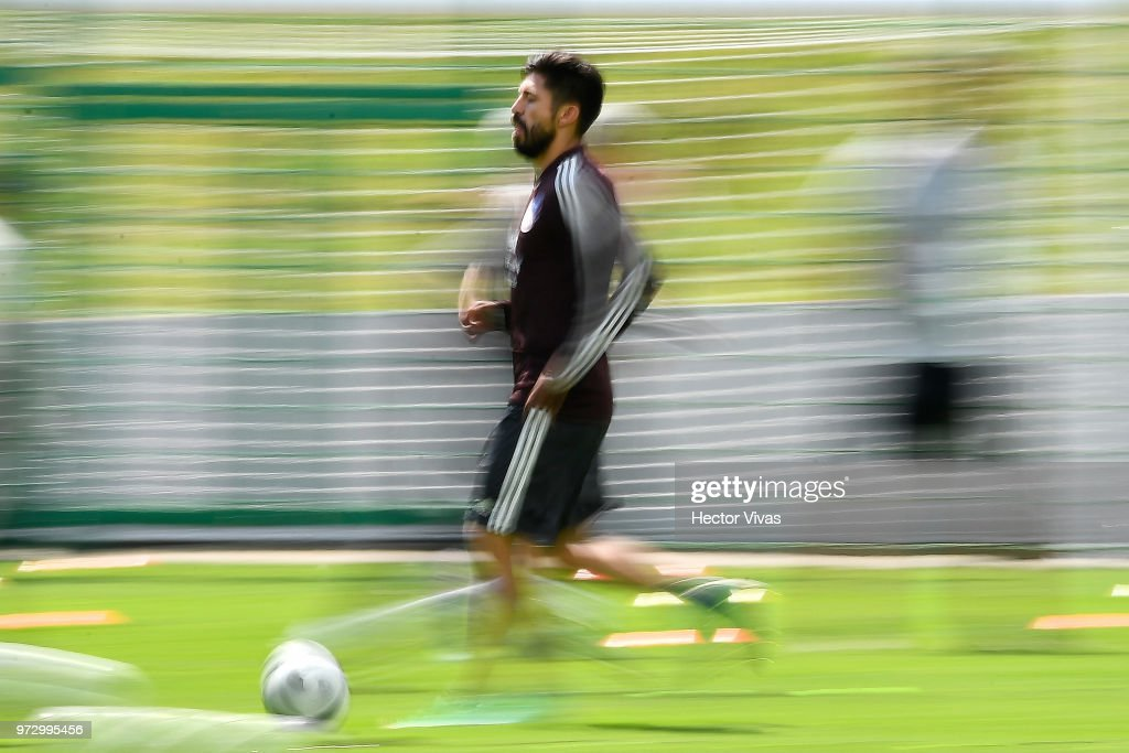 Oribe Peralta of Mexico drives the ball during a training session at team training base Novogorsk-Dynamo on June 13, 2018 in Moscow, Russia.