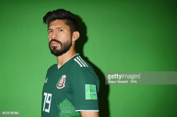 Oribe Peralta of Mexico poses for a portrait during the official FIFA World Cup 2018 portrait session at the team hotel on June 12 2018 in Moscow...