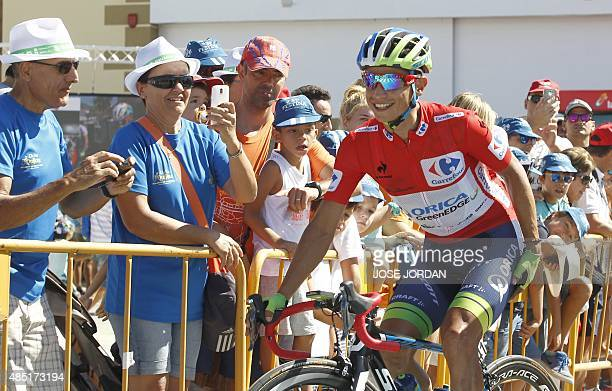 Orica GreenEdge's Colombian cyclist Esteban Chaves Rubio rides before the fourth stage of the 2015 Vuelta Espana cycling tour a 2136 Km stage between...
