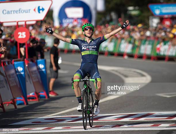 OricaBikeexchange's British cyclist Simon Yates celebrates as he crosses the finish line during the 6th stage of the 71st edition of 'La Vuelta' Tour...