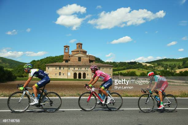 OricaGreenEDGE riders Mitchell Docker of Australia Michael Matthews of Australia and Ivan Santaromita of Italy in action during the eighth stage of...