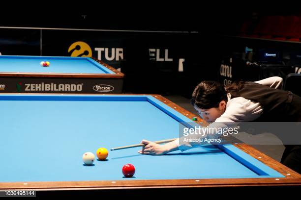 Orie Hida of Japan plays against Therese Klomphenhouwer of Holland during 3-Cushion final match of the World Championship Ladies at Izmir Ataturk...