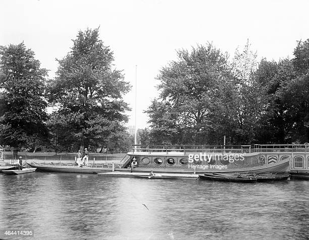Oriel College barge Oxford Oxfordshire Many Oxford colleges owned their own river barges c1860c1922