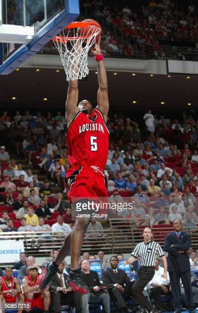 Orien Greene of the Louisiana-Lafayette Ragin' Cajuns goes for a dunk during the first round game of the NCAA Basketball Tournament against the North...