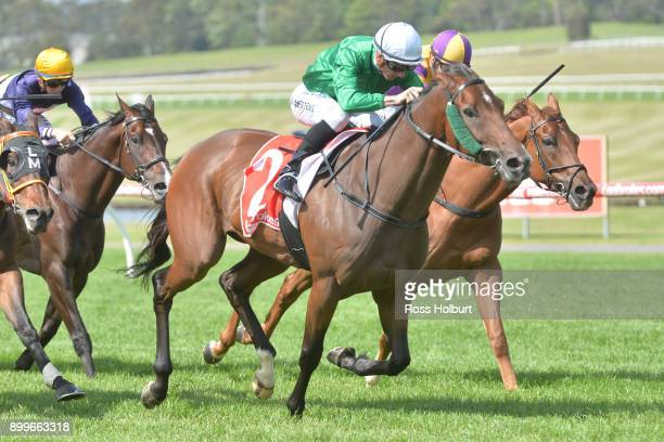 Orient Line ridden by Beau Mertens wins the Ladbrokes Up For The Challenge Handicap at Ladbrokes Park Hillside Racecourse on December 30 2017 in...