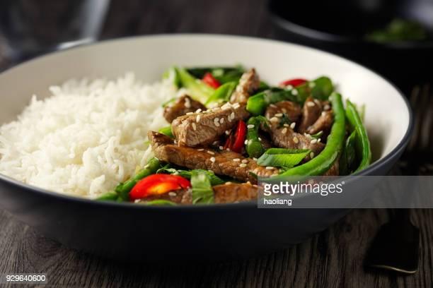 Oriental beef stir fry with basmati rice